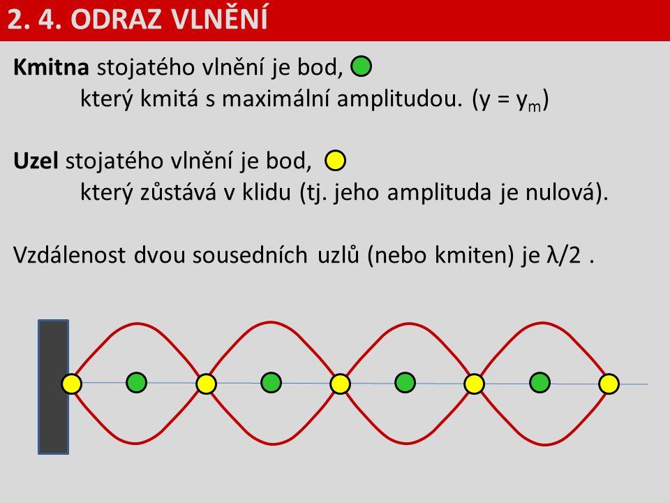 2. 4. ODRAZ VLNĚNÍ Kmitna stojatého vlnění je bod, který kmitá s maximální amplitudou. (y = ym)