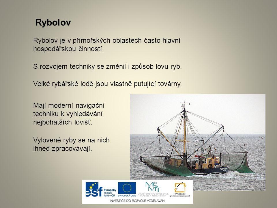 Rybolov Rybolov je v přímořských oblastech často hlavní hospodářskou činností. S rozvojem techniky se změnil i způsob lovu ryb.