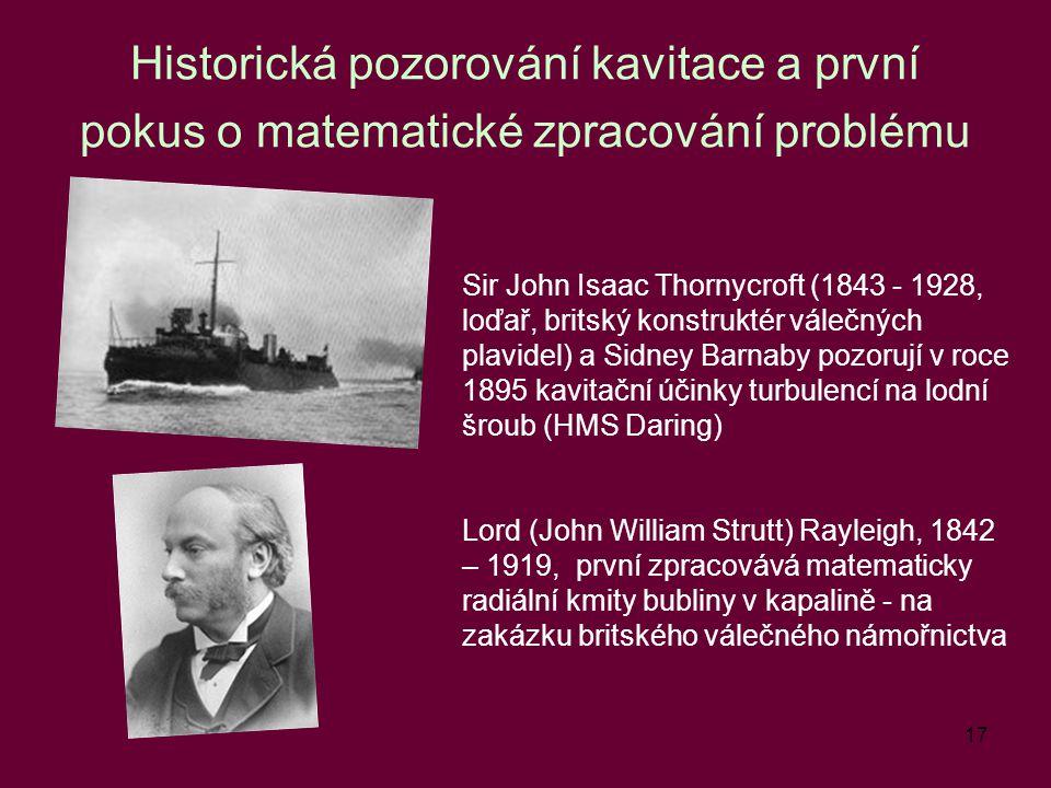 Historická pozorování kavitace a první pokus o matematické zpracování problému