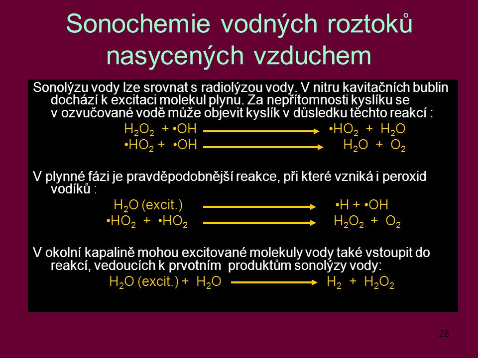 Sonochemie vodných roztoků nasycených vzduchem