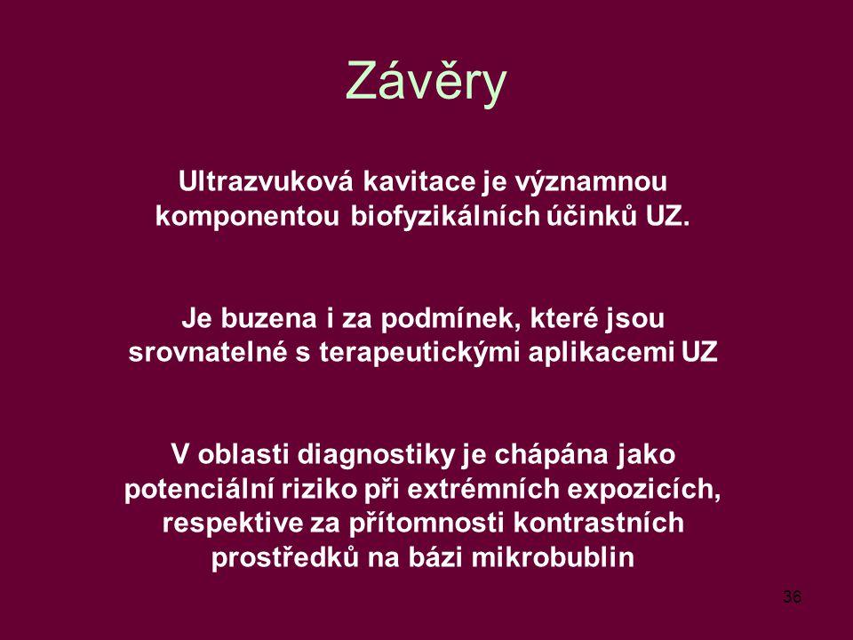 Závěry Ultrazvuková kavitace je významnou komponentou biofyzikálních účinků UZ.