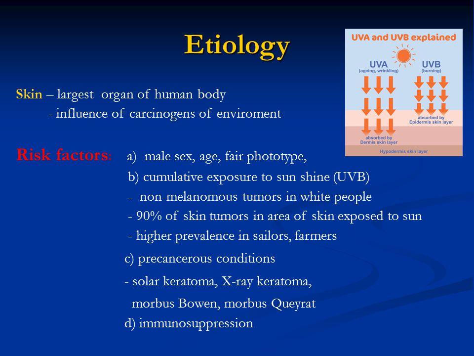 Etiology Risk factors: a) male sex, age, fair phototype,
