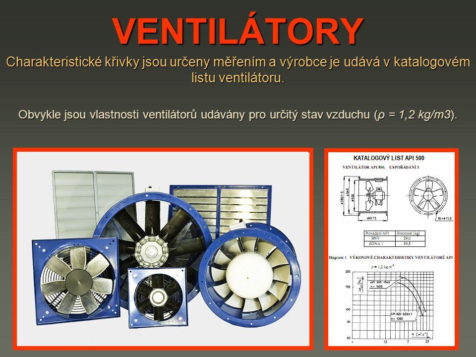 VENTILÁTORY Charakteristické křivky jsou určeny měřením a výrobce je udává v katalogovém listu ventilátoru.
