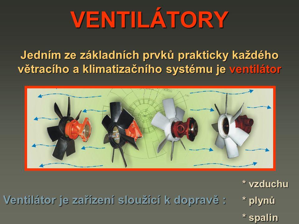 VENTILÁTORY Jedním ze základních prvků prakticky každého větracího a klimatizačního systému je ventilátor.