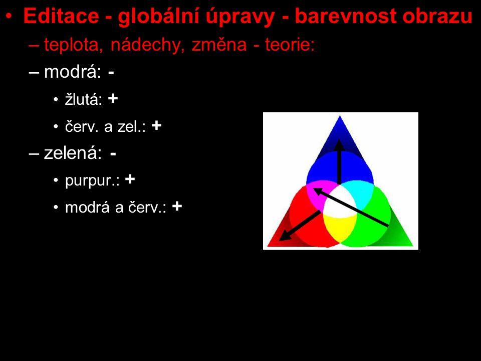 Editace - globální úpravy - barevnost obrazu