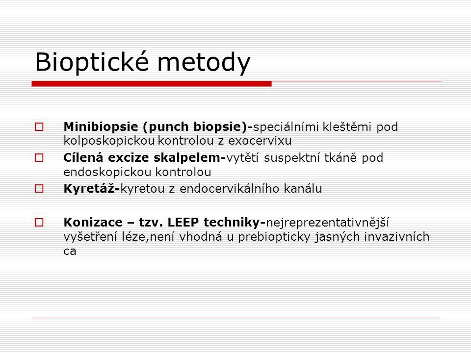 Bioptické metody Minibiopsie (punch biopsie)-speciálními kleštěmi pod kolposkopickou kontrolou z exocervixu.