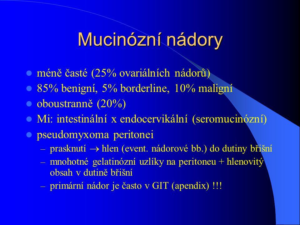 Mucinózní nádory méně časté (25% ovariálních nádorů)