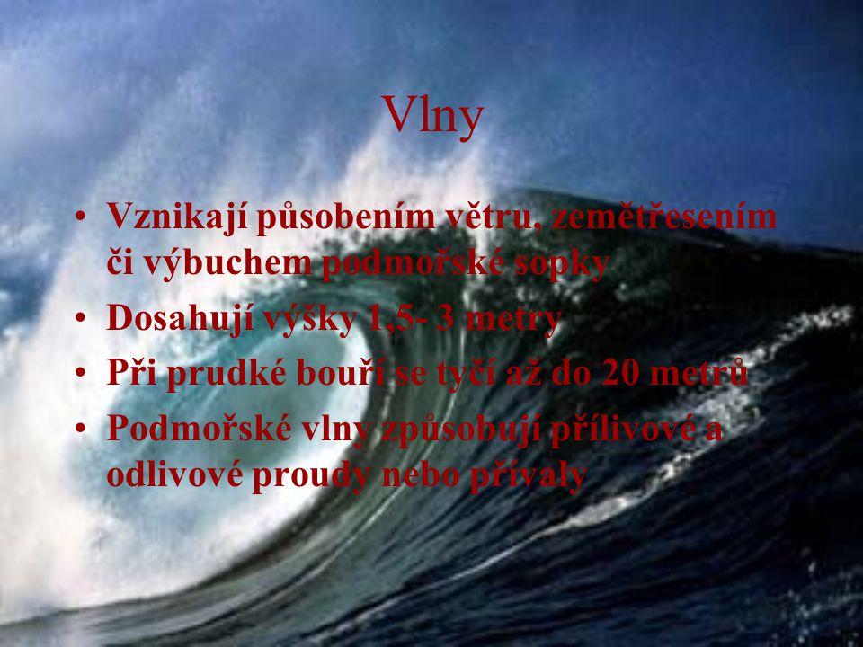 Vlny Vznikají působením větru, zemětřesením či výbuchem podmořské sopky. Dosahují výšky 1,5- 3 metry.