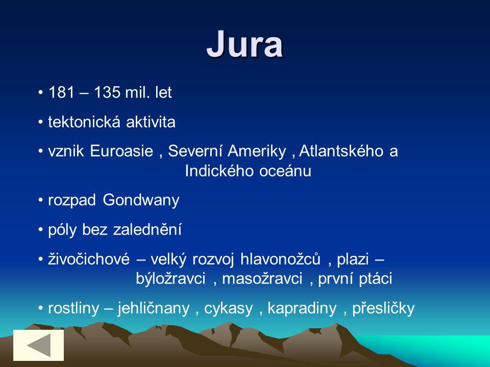 Jura 181 – 135 mil. let tektonická aktivita