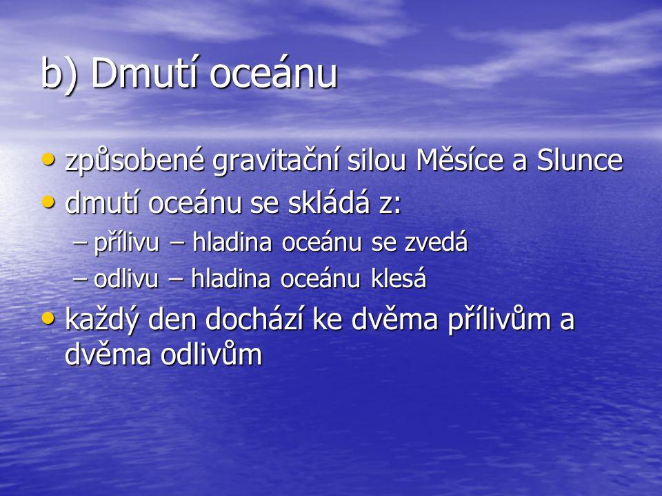 b) Dmutí oceánu způsobené gravitační silou Měsíce a Slunce