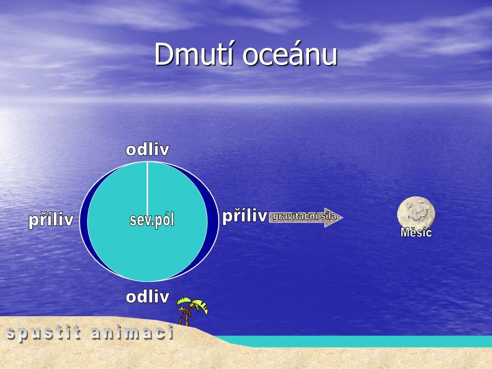 Dmutí oceánu odliv sev.pól Měsíc příliv gravitační síla příliv odliv