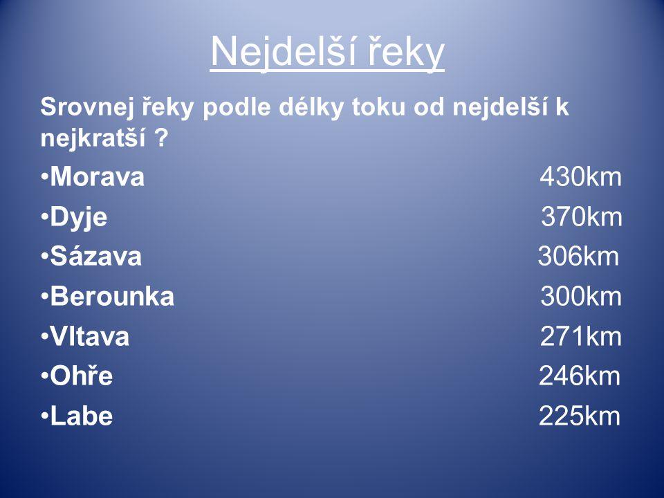 Nejdelší řeky Morava 430km Dyje 370km Sázava 306km Berounka 300km
