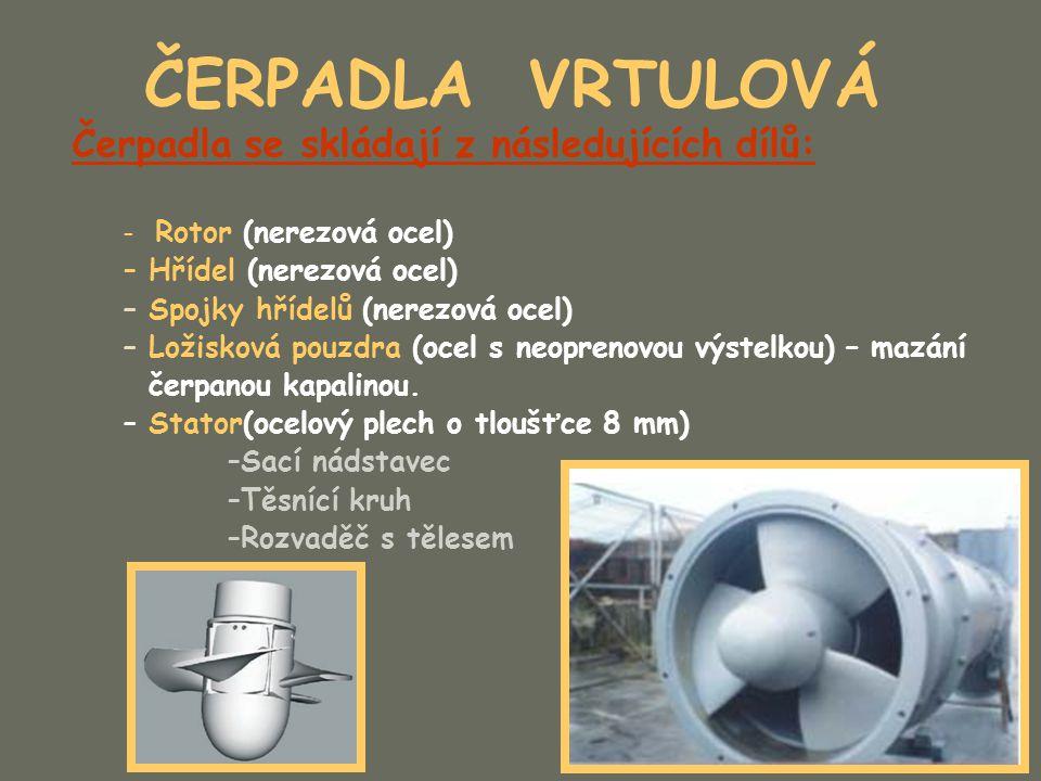 ČERPADLA VRTULOVÁ Čerpadla se skládají z následujících dílů: