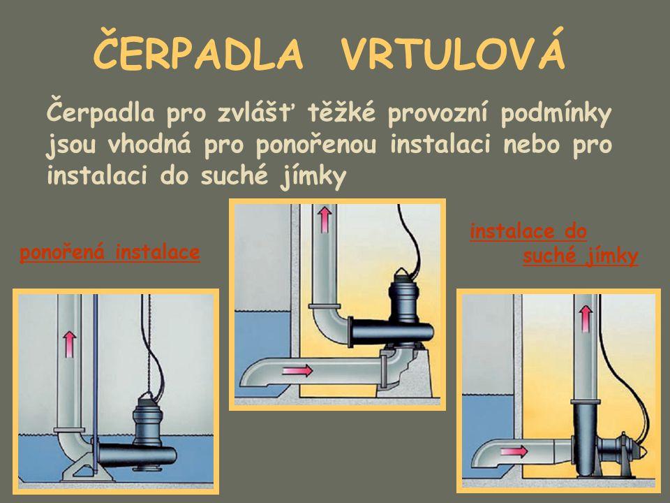 ČERPADLA VRTULOVÁ Čerpadla pro zvlášť těžké provozní podmínky jsou vhodná pro ponořenou instalaci nebo pro instalaci do suché jímky.
