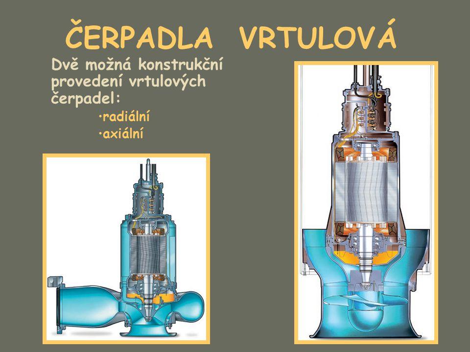 Dvě možná konstrukční provedení vrtulových čerpadel: radiální axiální