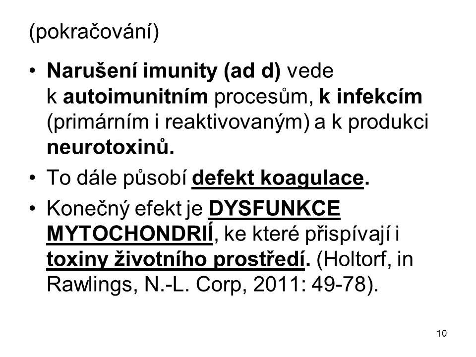 (pokračování) Narušení imunity (ad d) vede k autoimunitním procesům, k infekcím (primárním i reaktivovaným) a k produkci neurotoxinů.