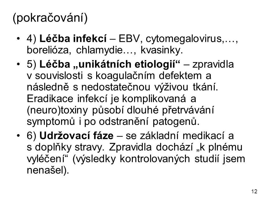 (pokračování) 4) Léčba infekcí – EBV, cytomegalovirus,…, borelióza, chlamydie…, kvasinky.