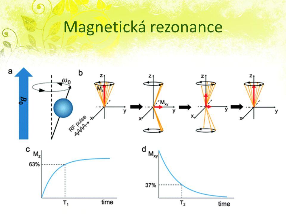 Magnetická rezonance RF pulz o rezonanční frekv daného prvku