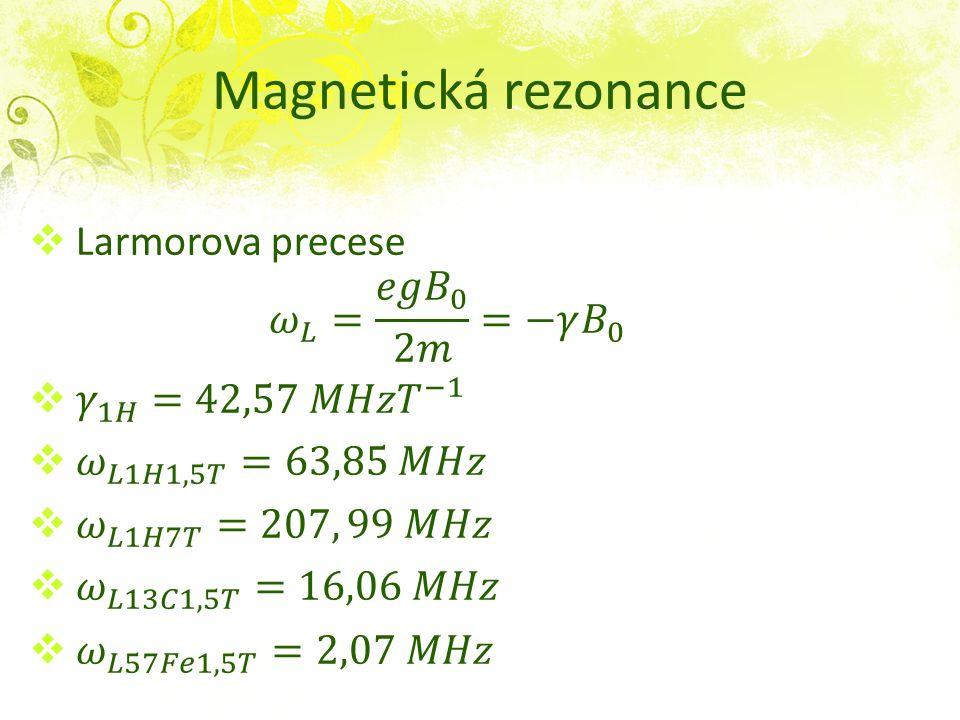 Magnetická rezonance Larmorova precese 𝜔 𝐿 = 𝑒𝑔 𝐵 0 2𝑚 =−𝛾 𝐵 0