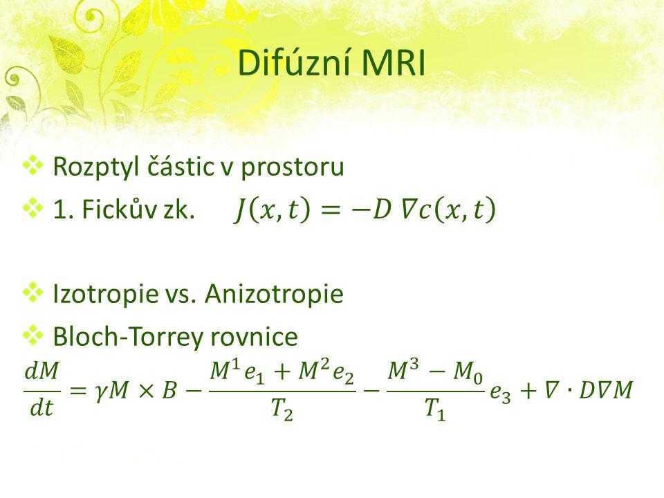 Difúzní MRI Rozptyl částic v prostoru 1. Fickův zk. 𝐽 𝑥,𝑡 =−𝐷 𝛻𝑐 𝑥,𝑡