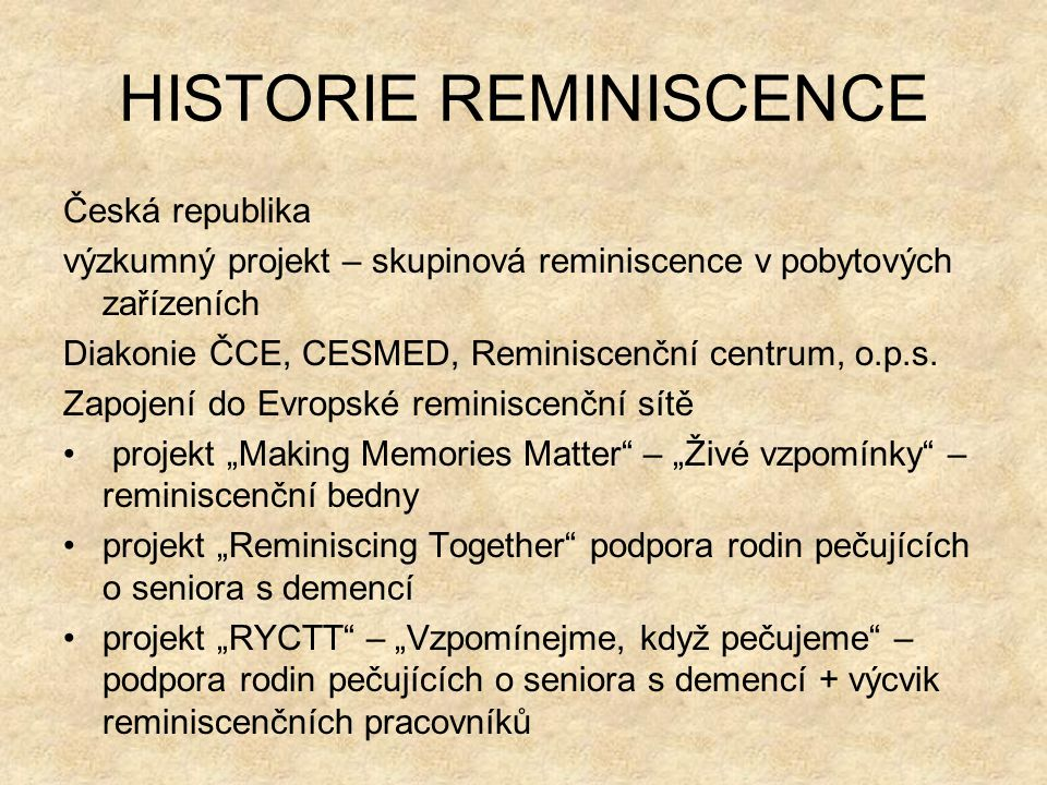 HISTORIE REMINISCENCE
