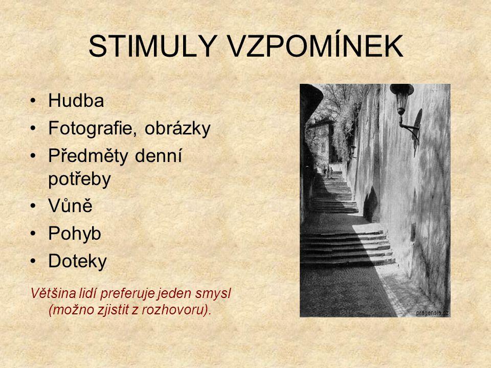 STIMULY VZPOMÍNEK Hudba Fotografie, obrázky Předměty denní potřeby