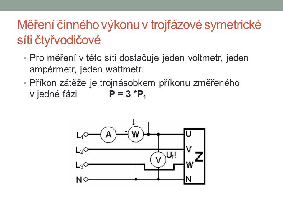 Měření činného výkonu v trojfázové symetrické síti čtyřvodičové