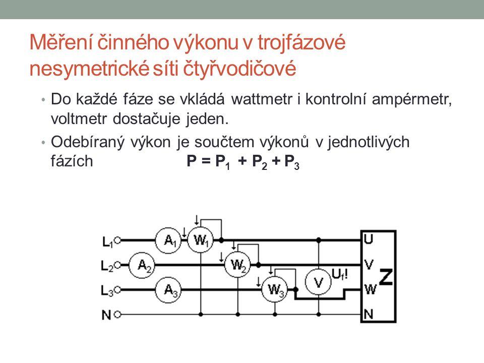 Měření činného výkonu v trojfázové nesymetrické síti čtyřvodičové