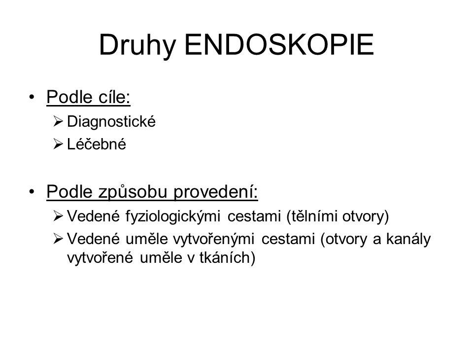 Druhy ENDOSKOPIE Podle cíle: Podle způsobu provedení: Diagnostické
