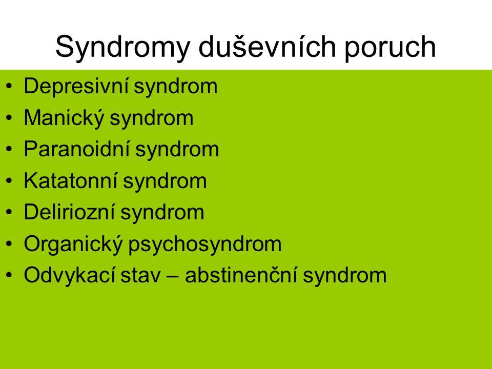 Syndromy duševních poruch