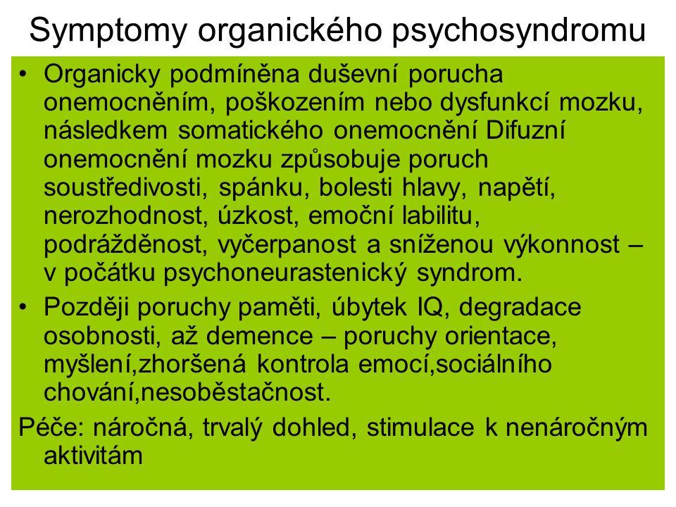 Symptomy organického psychosyndromu