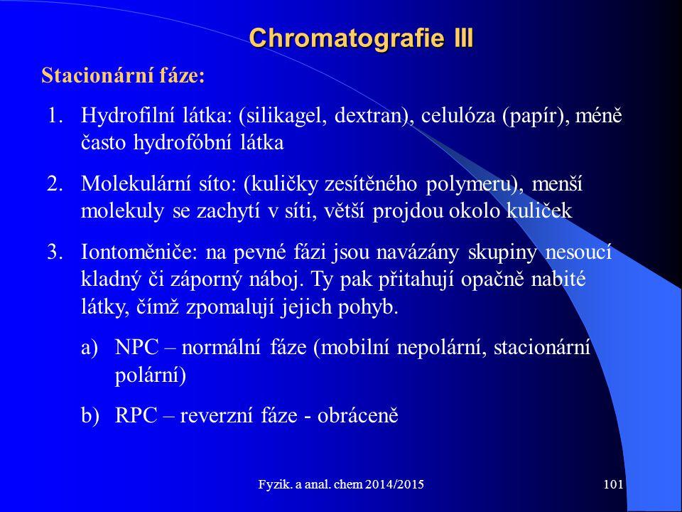 Chromatografie III Stacionární fáze: