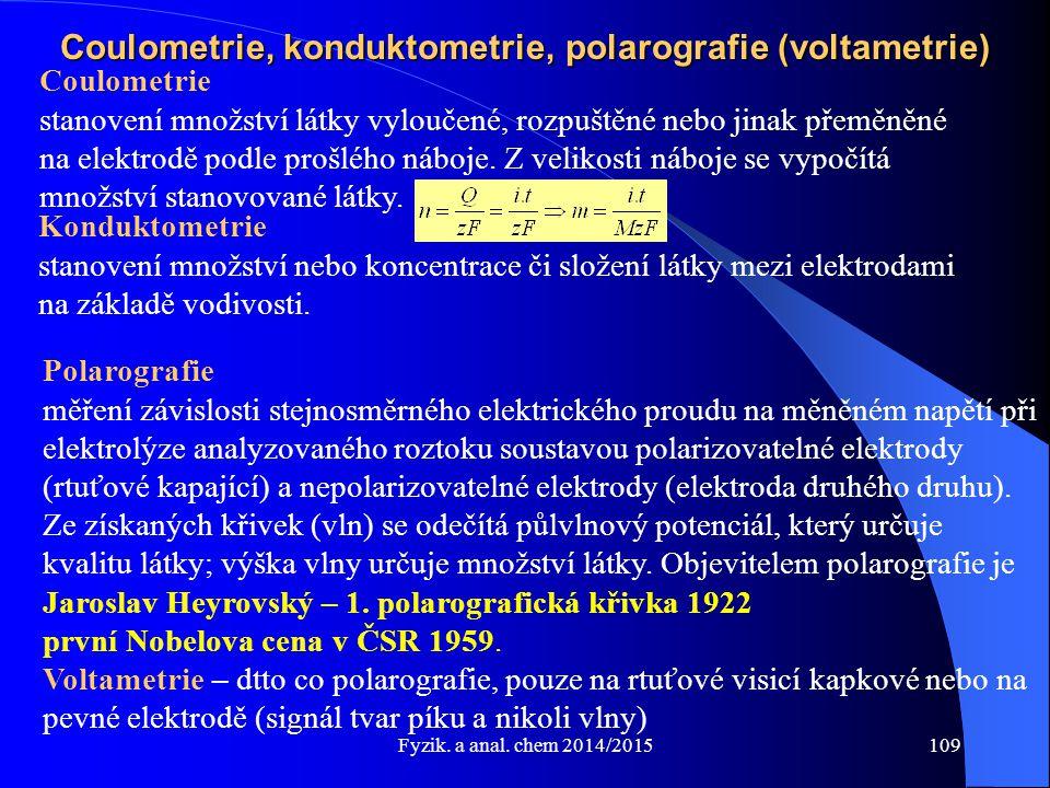 Coulometrie, konduktometrie, polarografie (voltametrie)