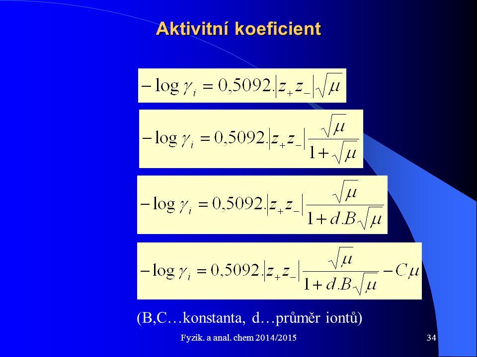 Aktivitní koeficient (B,C…konstanta, d…průměr iontů)