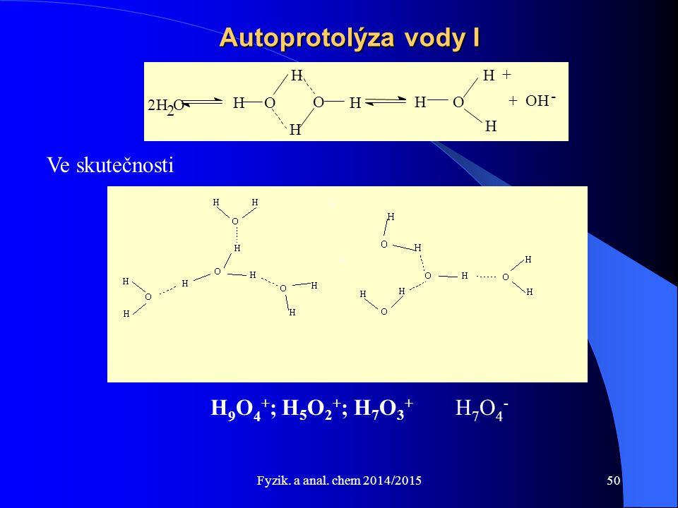 Autoprotolýza vody I Ve skutečnosti H9O4+; H5O2+; H7O3+ H7O4- H H + -
