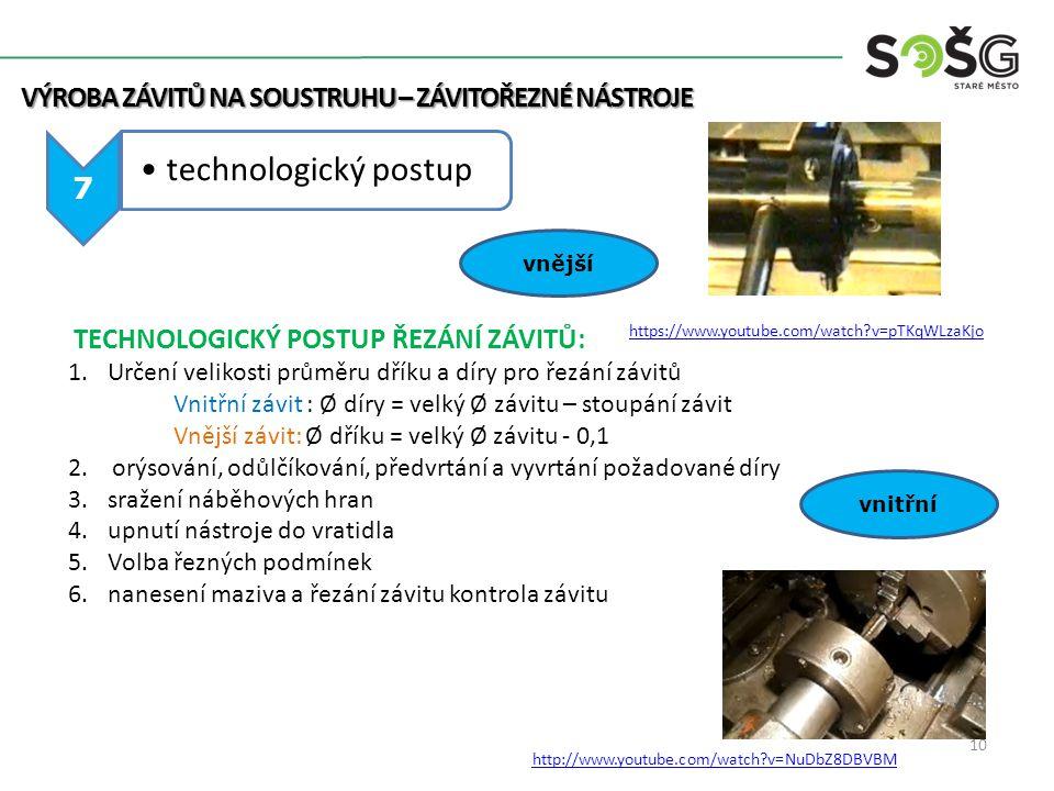 technologický postup Výroba závitů na soustruhu – závitořezné nástroje