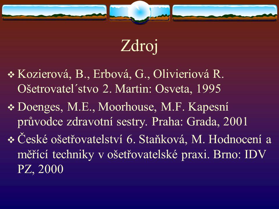 Zdroj Kozierová, B., Erbová, G., Olivieriová R. Ošetrovatel´stvo 2. Martin: Osveta, 1995.