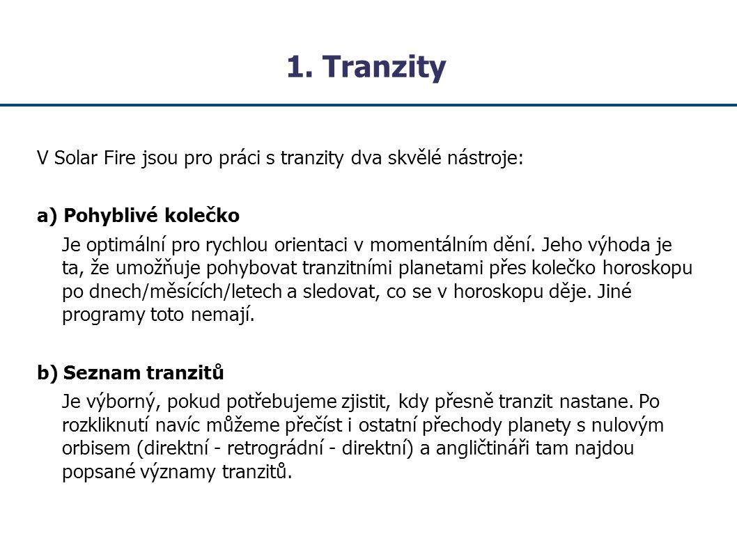 1. Tranzity V Solar Fire jsou pro práci s tranzity dva skvělé nástroje: a) Pohyblivé kolečko.