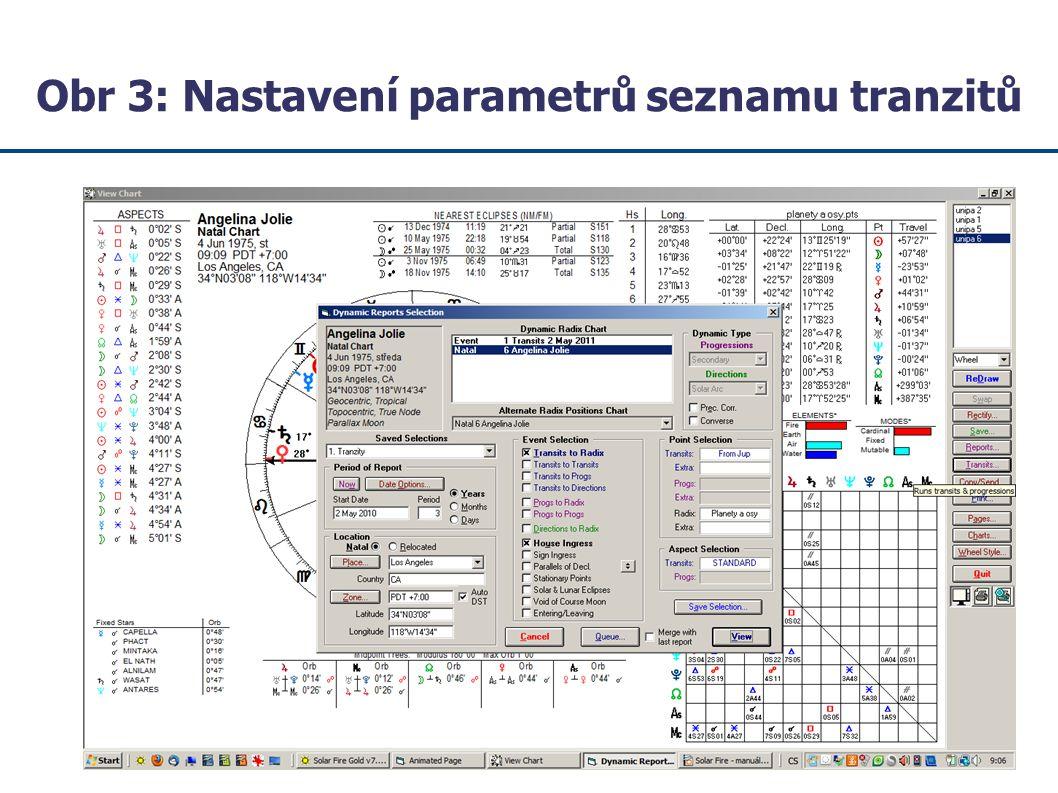 Obr 3: Nastavení parametrů seznamu tranzitů