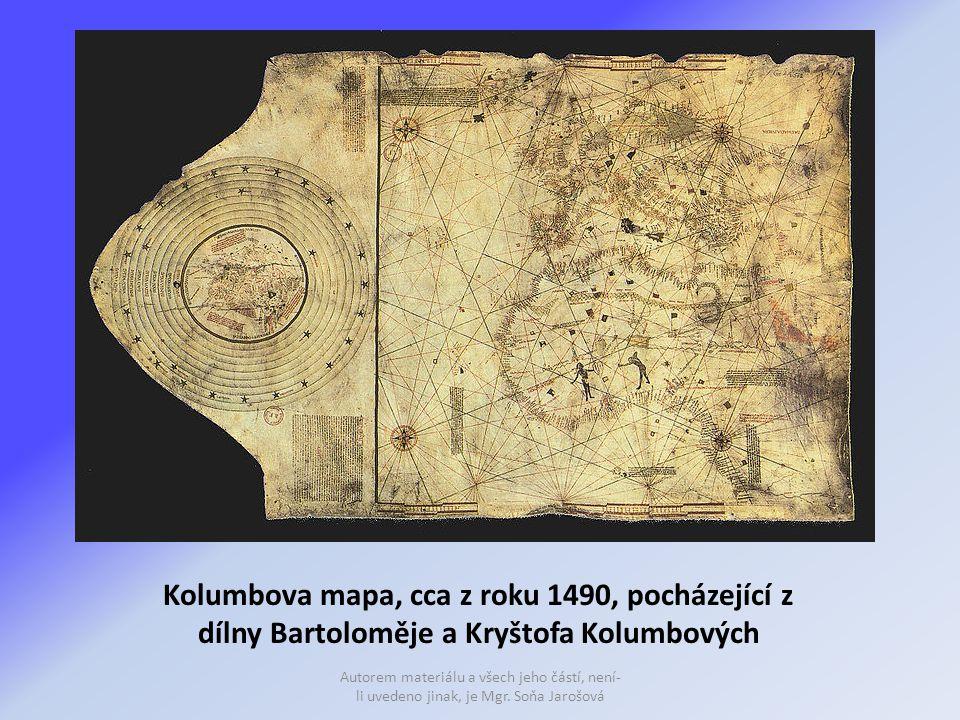 Kolumbova mapa, cca z roku 1490, pocházející z dílny Bartoloměje a Kryštofa Kolumbových