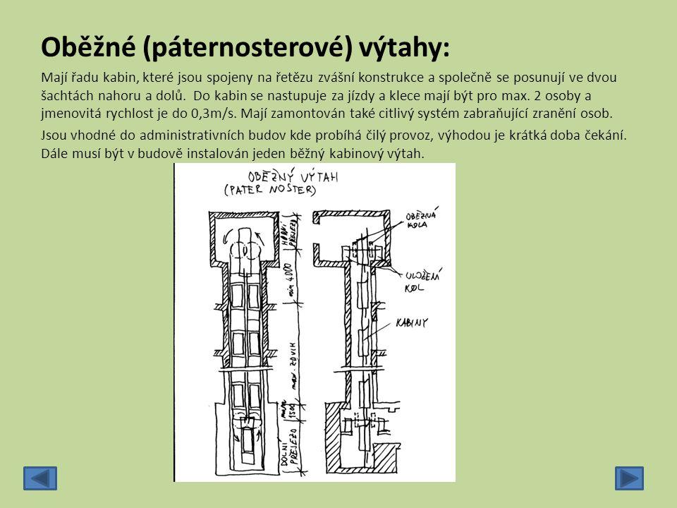 Oběžné (páternosterové) výtahy: