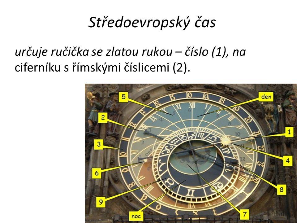Středoevropský čas určuje ručička se zlatou rukou – číslo (1), na ciferníku s římskými číslicemi (2).