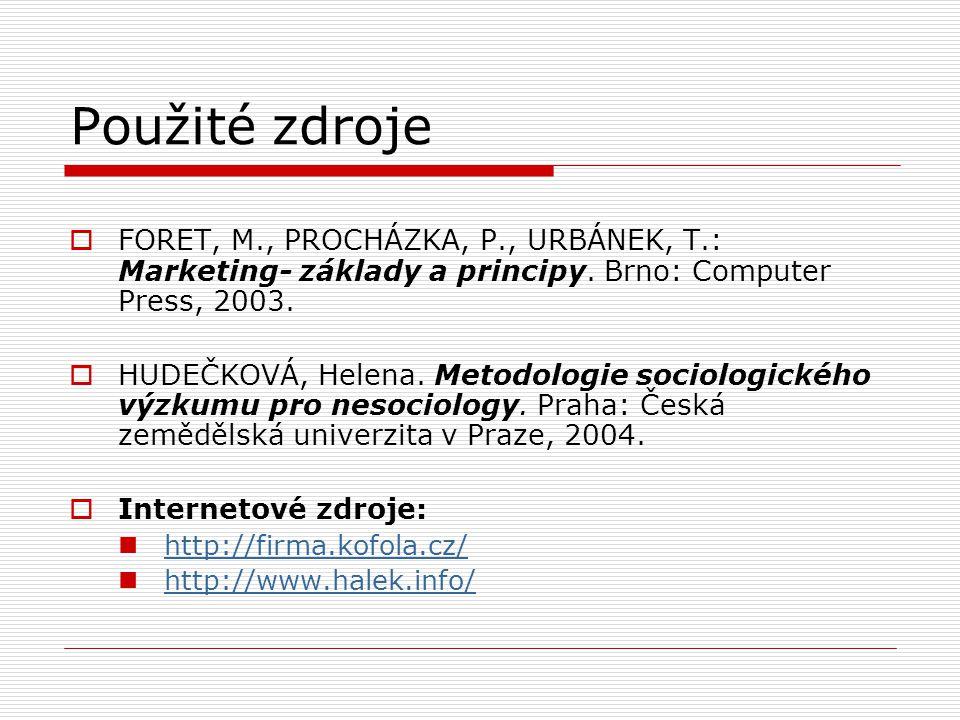 Použité zdroje FORET, M., PROCHÁZKA, P., URBÁNEK, T.: Marketing- základy a principy. Brno: Computer Press, 2003.