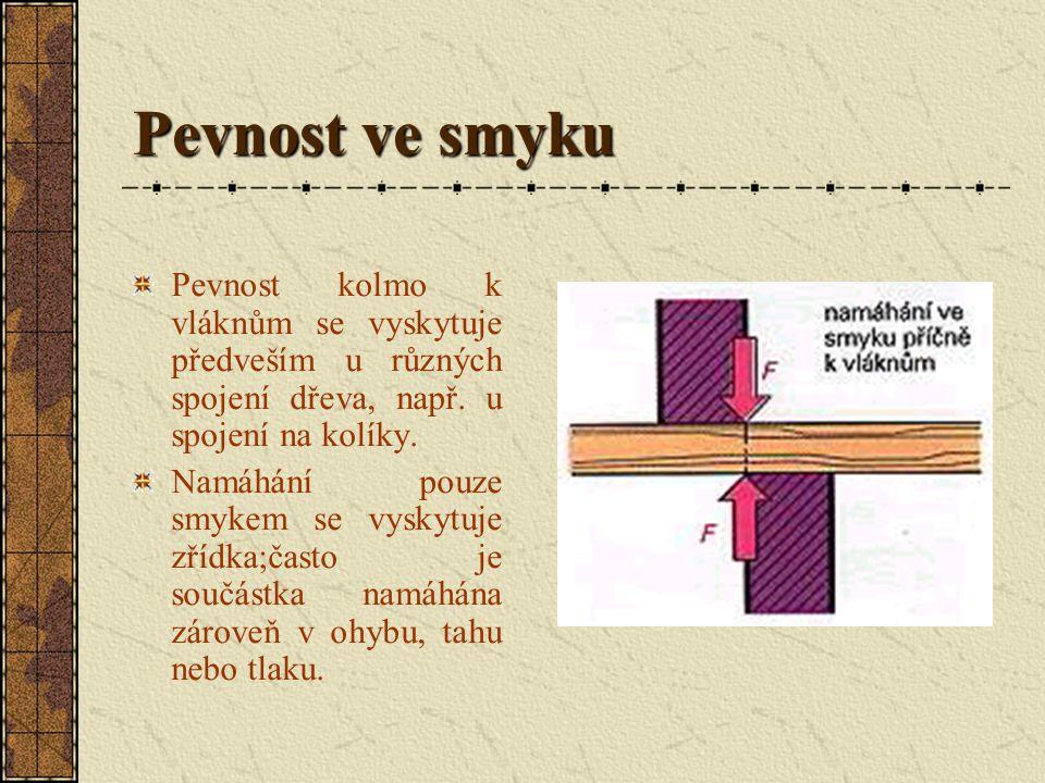 Pevnost ve smyku Pevnost kolmo k vláknům se vyskytuje předveším u různých spojení dřeva, např. u spojení na kolíky.