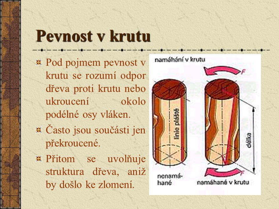 Pevnost v krutu Pod pojmem pevnost v krutu se rozumí odpor dřeva proti krutu nebo ukroucení okolo podélné osy vláken.