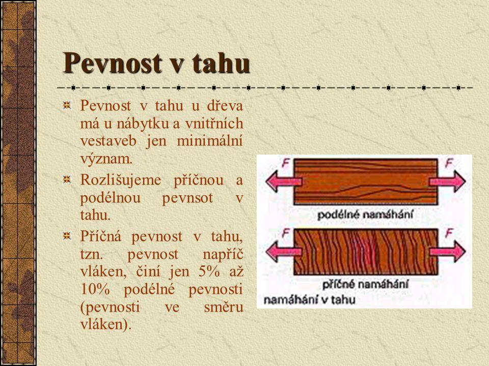 Pevnost v tahu Pevnost v tahu u dřeva má u nábytku a vnitřních vestaveb jen minimální význam. Rozlišujeme příčnou a podélnou pevnsot v tahu.