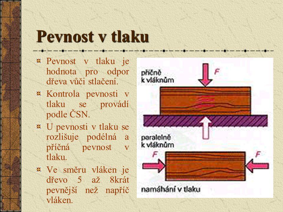 Pevnost v tlaku Pevnost v tlaku je hodnota pro odpor dřeva vůči stlačení. Kontrola pevnosti v tlaku se provádí podle ČSN.