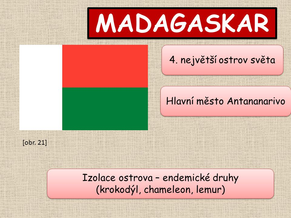 MADAGASKAR 4. největší ostrov světa Hlavní město Antananarivo