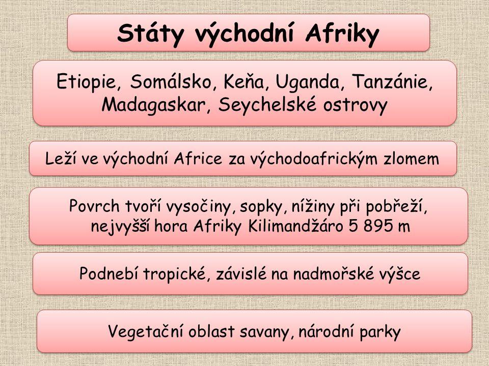 Státy východní Afriky Etiopie, Somálsko, Keňa, Uganda, Tanzánie, Madagaskar, Seychelské ostrovy. Leží ve východní Africe za východoafrickým zlomem.