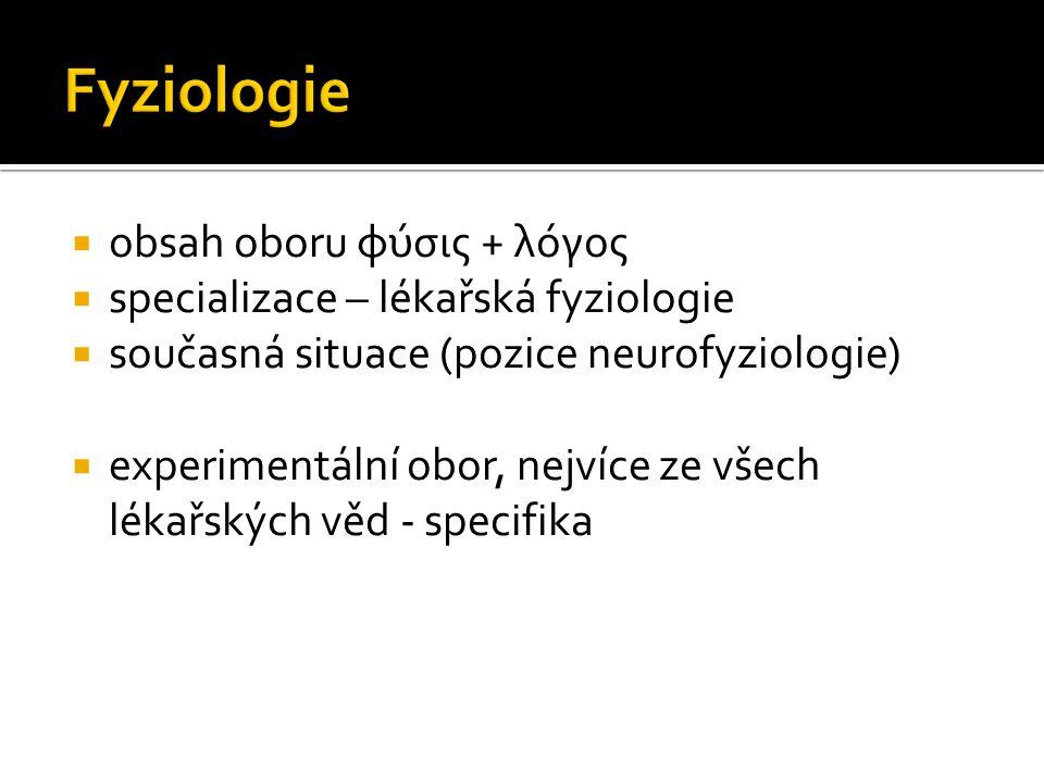 Fyziologie obsah oboru φύσις + λόγος